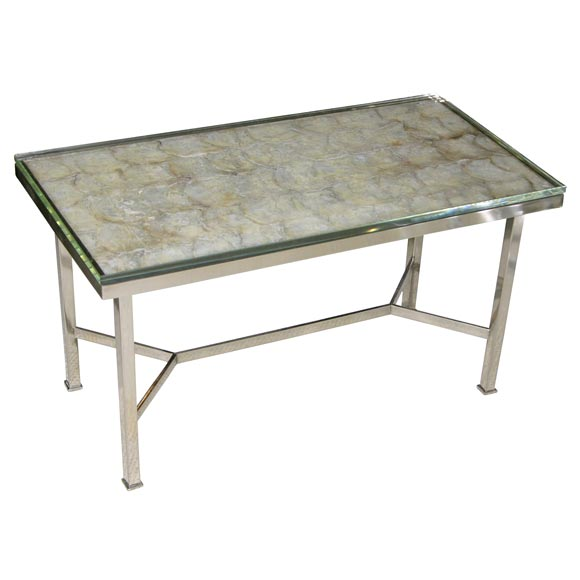 Polished Nickel And Shell Top Coffee Table At 1stdibs