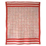 19THC RED AND WHITE POSTAGE STAMP CHAIN QUILT