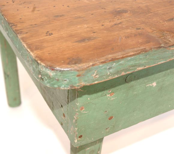 19THC ORIGINAL GREEN PAINTED FARM/COFFEE TABLE image 3
