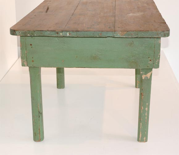 19THC ORIGINAL GREEN PAINTED FARM/COFFEE TABLE image 6