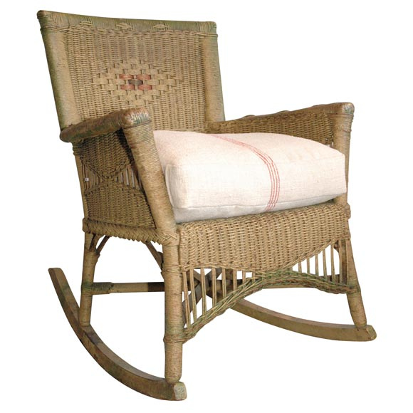 Bar Harbor Original Musterd Painted Wicker Rocking Chair At 1stdibs