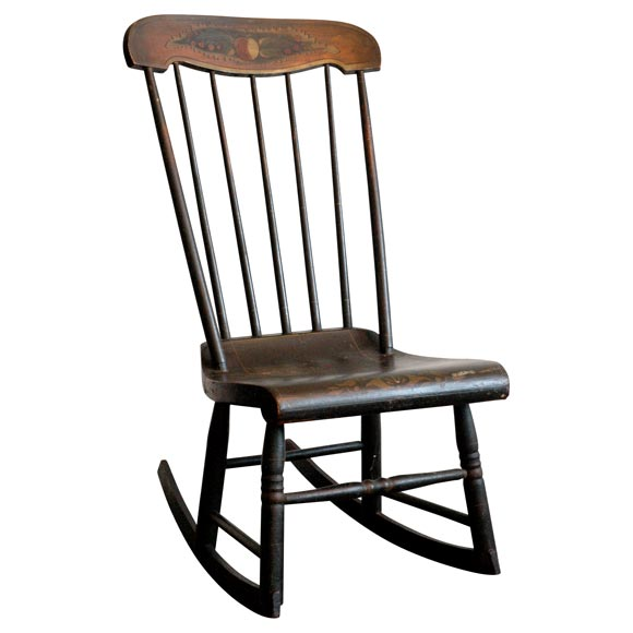 19THC EARLY DECORATED NEW ENGLAND ROCKING CHAIR at 1stdibs