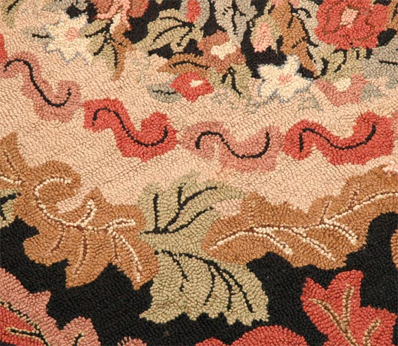 1920 S American Hand Hooked Floral Room Size Rug At 1stdibs