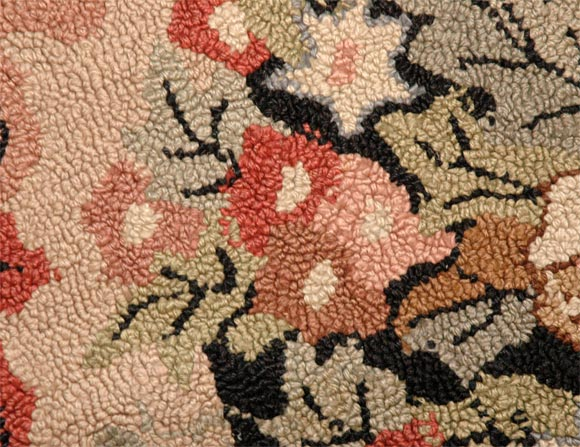1920s American Hand Hooked Floral Room Size Rug At 1stdibs