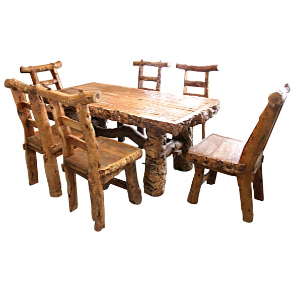Rustic dining table and chairs at 1stdibs for Rustic dining table and chairs