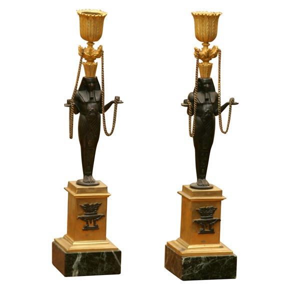 Pair of French Figural Candlesticks