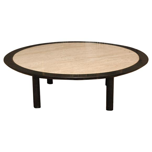 Round Michael Taylor For Baker Travertine Top Coffee Table At 1stdibs