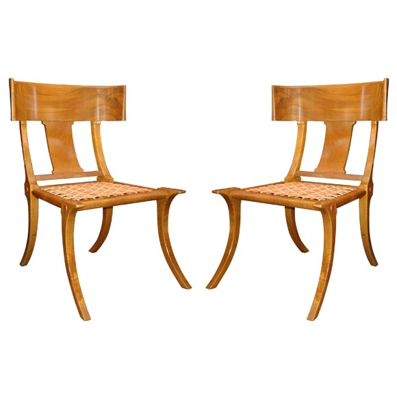 Pair of robsjohn gibbings by saridis klismos chairs at 1stdibs