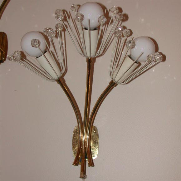 Wall Sconce With Crystal Ball : PAIR OF BRASS AND CRYSTAL BALL SCONCES at 1stdibs