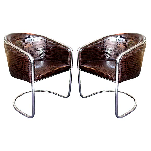 A Pair Of Chrome And Patent Leather Tub Chairs By Thonet For Sale