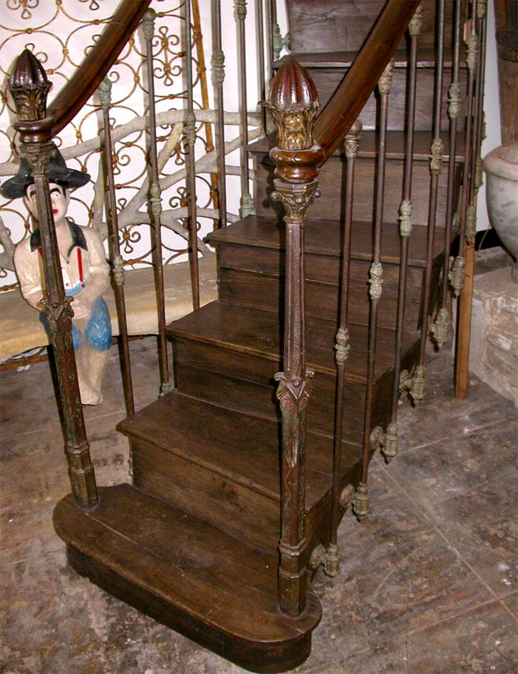 French 19th C. Hand Carved, Cast Iron Staircase