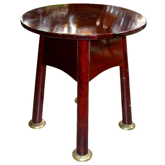 Round Mahogany Table with Brass Sabots at 1stdibs