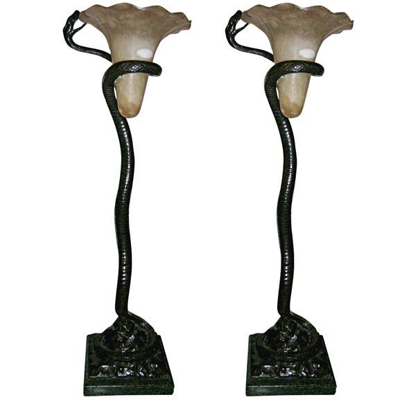 pair of art deco snake type floor lamps at 1stdibs. Black Bedroom Furniture Sets. Home Design Ideas
