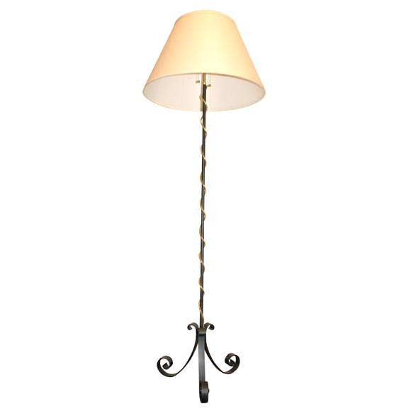French Iron Floor Lamp with Gold Leaf