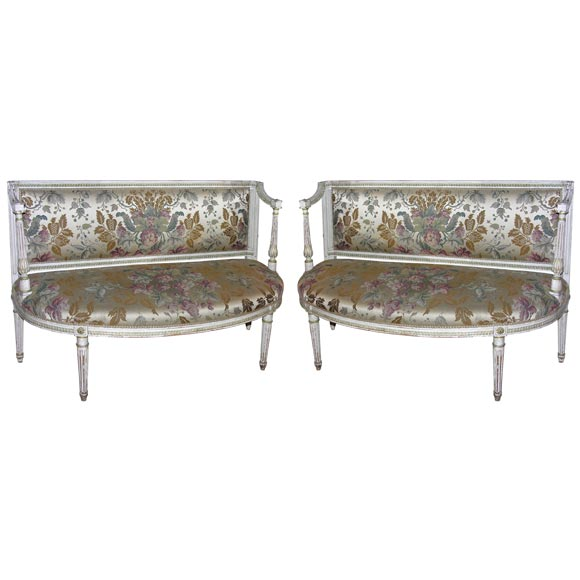 pair of louis xvi painted window banquettes at 1stdibs. Black Bedroom Furniture Sets. Home Design Ideas