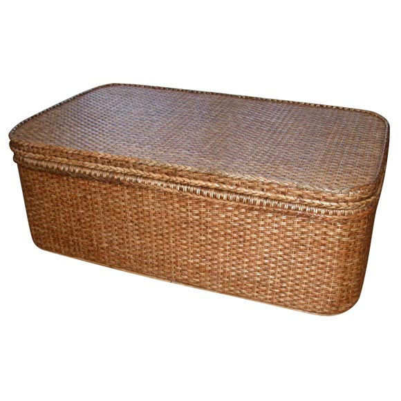 Rattan Coffee Table With Storage And Tray At 1stdibs