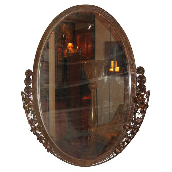 Art d co oval mirror attributed to paul kiss at 1stdibs for Mirror kisses