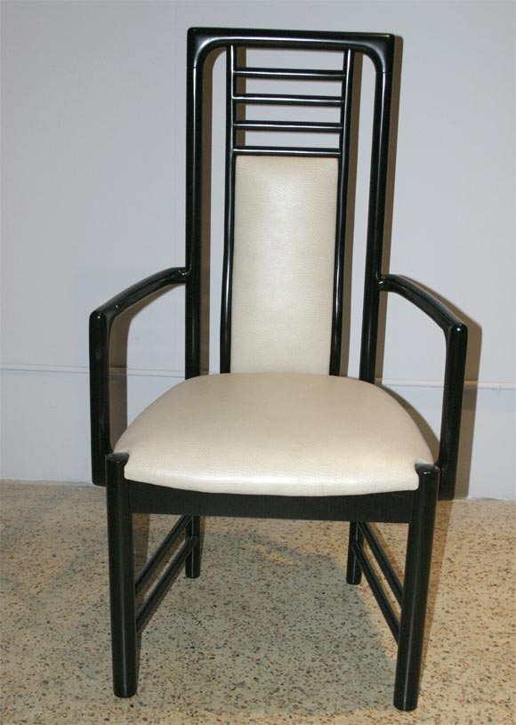 Pair Ebonized Tall Back Armchairs At 1stdibs