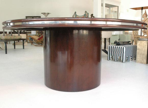 A custom made mahogany center pedestal dining table at 1stdibs for Dining at at t center