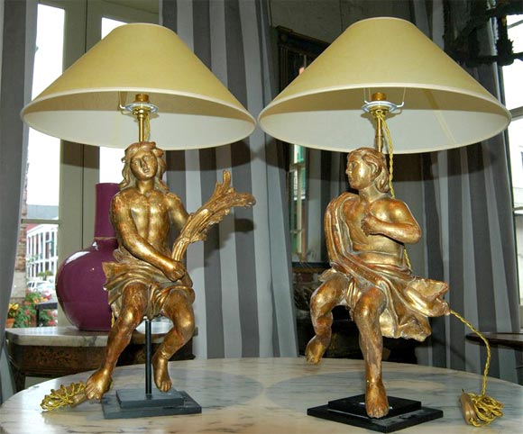 PAIR OF BOIS DORE LAMPS at 1stdibs