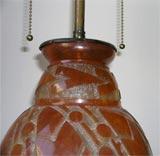Daum Nancy Glass Art Deco Lamp Mounted in Iron by L. Katona image 4