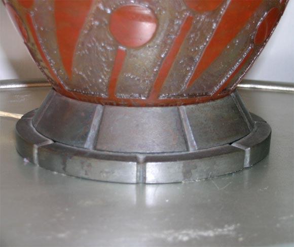 Daum Nancy Glass Art Deco Lamp Mounted in Iron by L. Katona For Sale 4