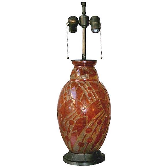 Daum Nancy Glass Art Deco Lamp Mounted in Iron by L. Katona