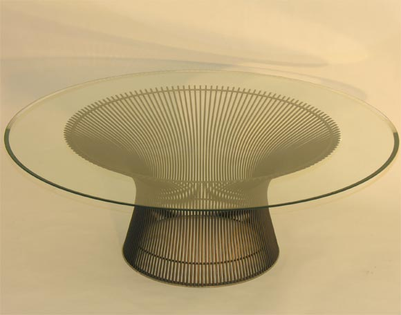 Wire Frame Coffee Table.Mod Round Cocktail Table By Warren Platner For Knoll
