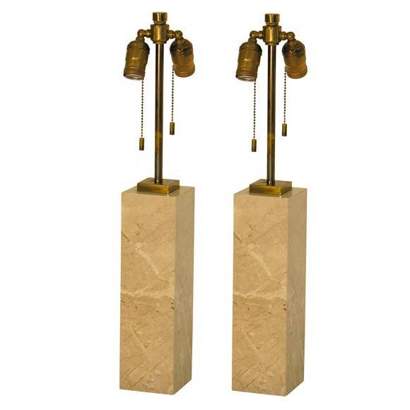 Pair of Marble Table Lamps by T.H. Robsjohn-Gibbings for Hansen