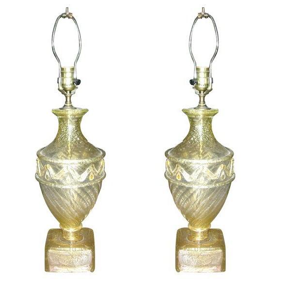 Pair of Barovier Murano Venetian glass Lamps 1