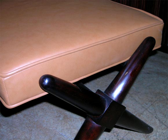Leather Upholstered Mahogany X Leg Bench By Gibbings At