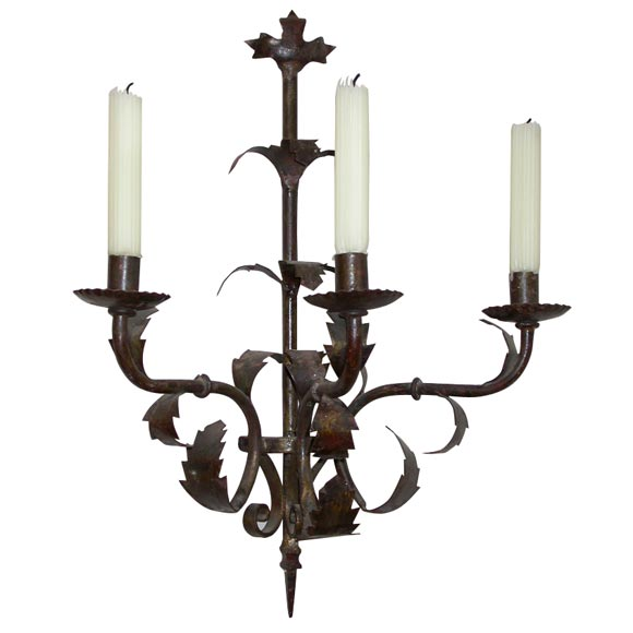 French Iron Wall Sconces : French Iron Candle Sconce, 19th Century at 1stdibs