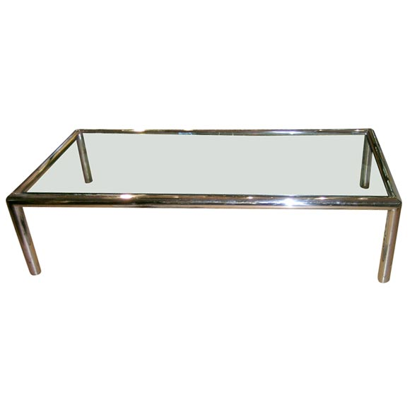 Chrome Frame Glass Top Coffee Table At 1stdibs