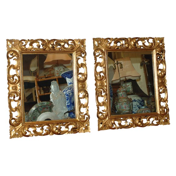 Pair of Italian Roccoco Style Gilt and Carved Wood Mirrors Late 19th Century