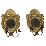 Pair Gilt Wood and Mirror Candle Sconces. Italy, 18th Century
