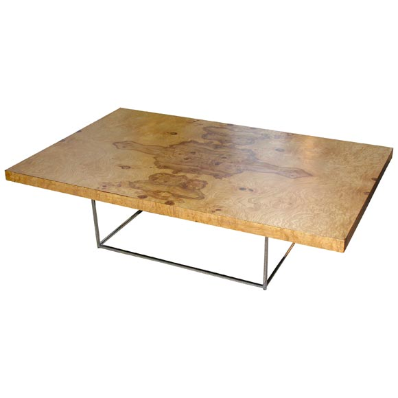 Milo Baughman Olive Burl Coffee Table At 1stdibs