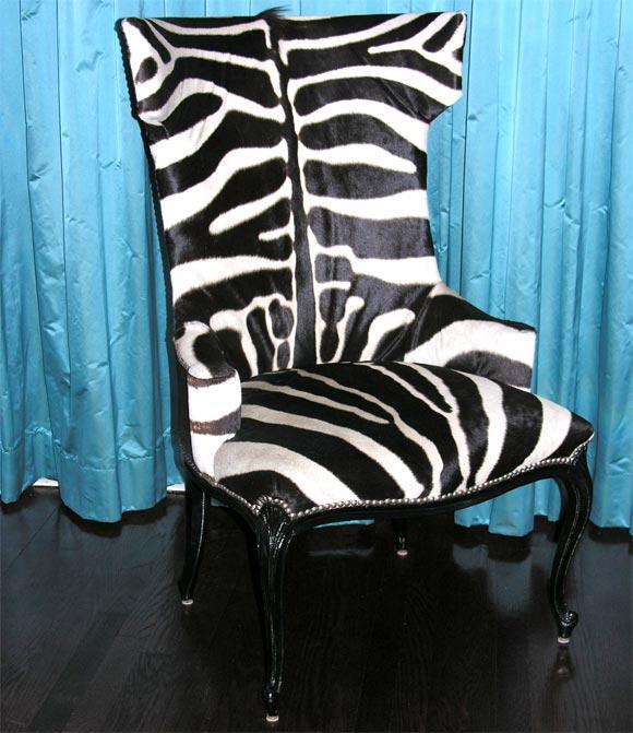 Custom Zebra Skin Upholstered Chairs At 1stdibs