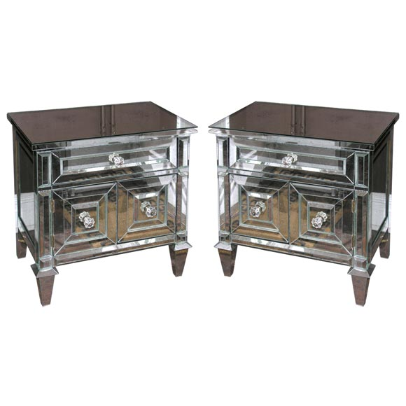 Pair of Custom American Mirrored Cabinet Commodes