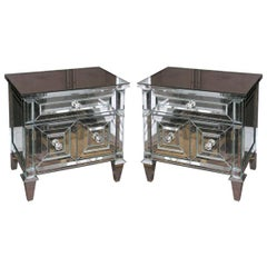 Pair of Neoclassical Modern Mirrored Cabinet Nightstands