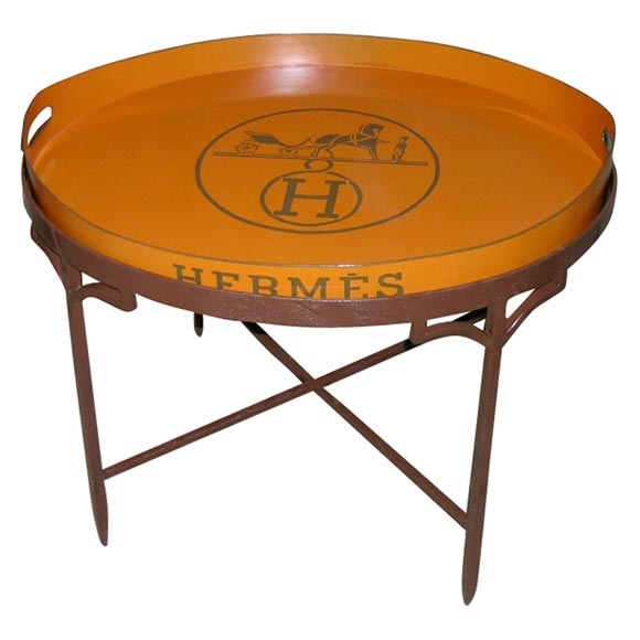 Vintage Hermes Coffee Table Book: Hand-Painted Hermes Tray On Wrought Iron Stand At 1stdibs
