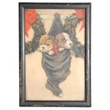 19THC OIL PAINTING/ CHRISTMAS PUPPIES PAINTING ON GLASS