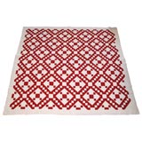 19THC GEOMETRIC RED AND WHITE  QUILT