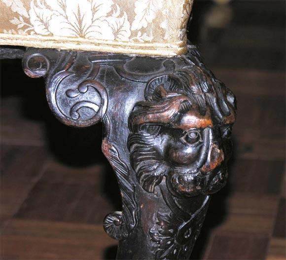 Irish Georgian Mahogany Sofa w/ Carved Faces on Knees & Paw Feet 3