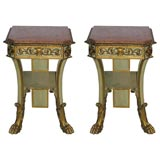 Italian two tier gilt & marble small consoles