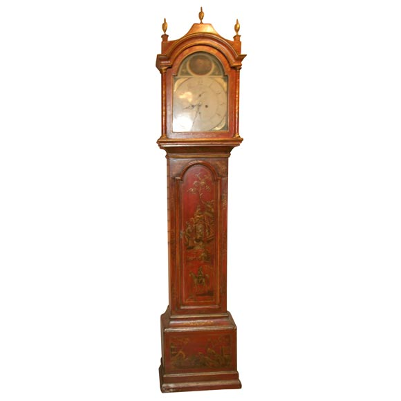 Red Chinoiserie Grandfather Clock At 1stdibs