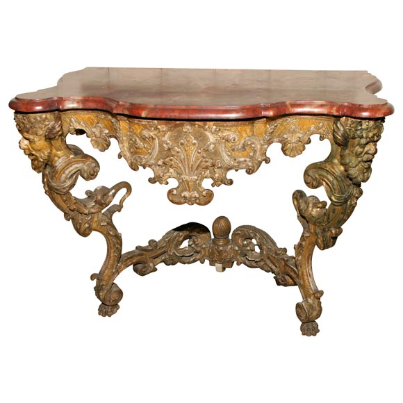 baroque giltwood console for sale at 1stdibs. Black Bedroom Furniture Sets. Home Design Ideas