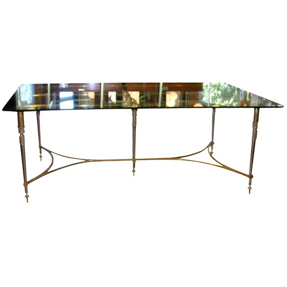 Bronze glass top dining table at stdibs