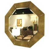 Large octagonal shagreen lacquer mirror by Karl Springer