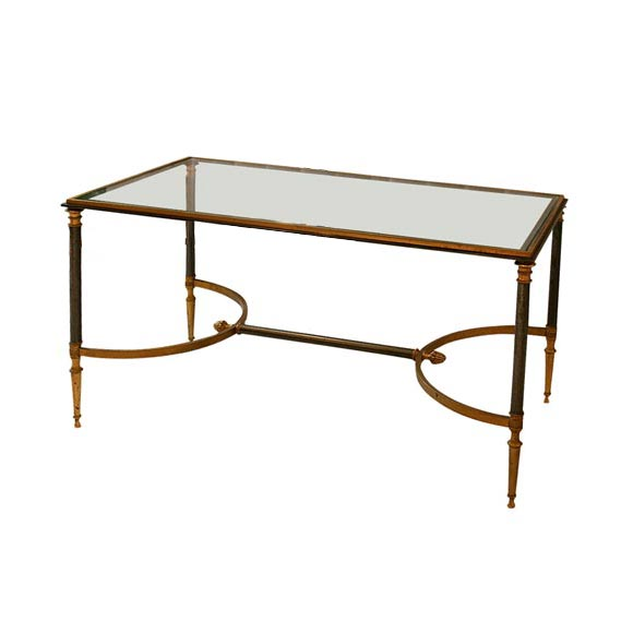 Steel and bronze coffee table at 1stdibs for Bronze metal coffee table