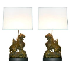 Pair of James Mont Foo Dog Lamps